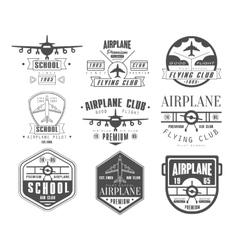 Monochrome airplane club emblems vector