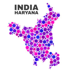 Mosaic haryana state map of spheric elements vector