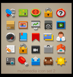 multimedia icon set-2 vector image