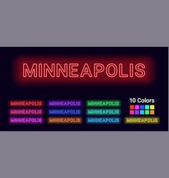 Neon name of minneapolis city vector