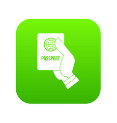 Passport icon digital green vector