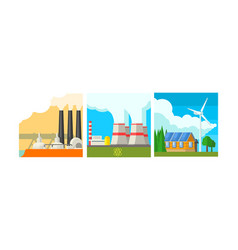 power plant stations set clean and polluting vector image