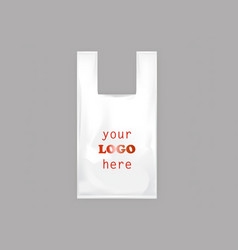 Realistic white plastic bag with handles vector