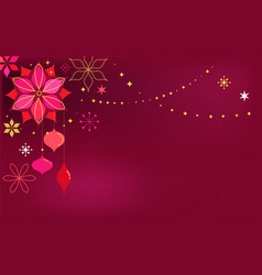 red christmas card background with flowers vector image