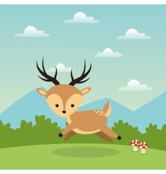 Reindeer cartoon icon Woodland animal vector
