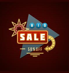 Retro showtime sign design wit sale message vector