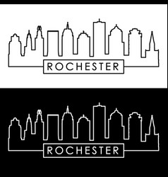 rochester skyline linear style editable file vector image