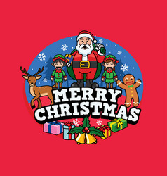 santa claus and friends greeting christmas vector image