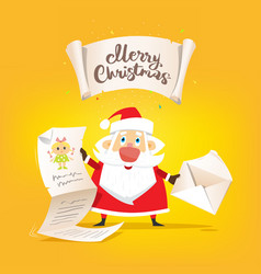 Santa claus hold a long letter of wishes and vector