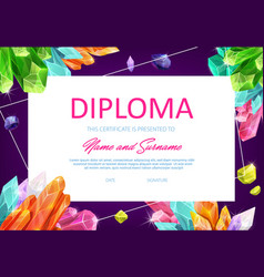 school diploma template with crystal gems vector image