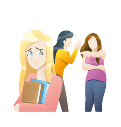 school friends gossiping behind stressed girl vector image