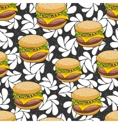 Seamless pattern with doodle hamburger on the vector