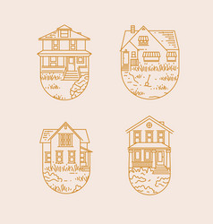 set house badges flat vector image