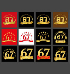 set of number sixty-seven 67 years celebration vector image