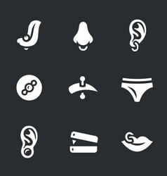 set of piercing icons vector image