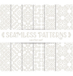 set of seamless vintage wallpapers with flourishes vector image