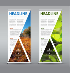 set vertical roll up banner with triangular vector image