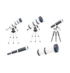 set white telescopes with stands and without vector image