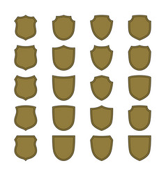 shield shape bronze icons set simple silhouette vector image