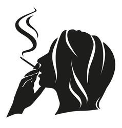 Silhouette girl smokes vector