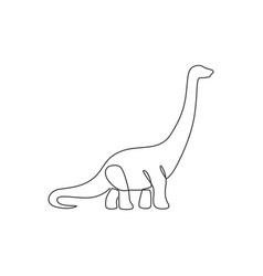 Single continuous line drawing long neck vector