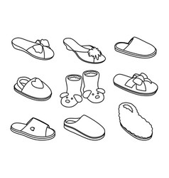 slippers sketches set vector image