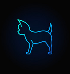 small dog blue line icon vector image