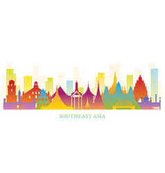 Southeast asia skyline landmarks colorful vector