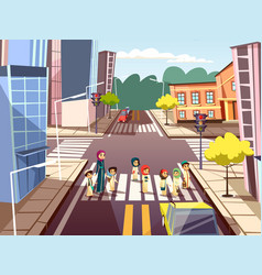 Street pedestrians cartoon of vector