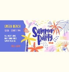 summer party banner template open air vector image