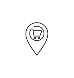 supermarket location line icon on white background vector image