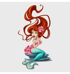 Sweetheart mermaid with red long hair vector