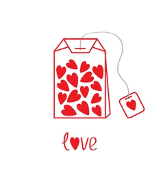 Teabag with hearts Love card vector