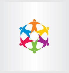 team people circle colorful logo connection icon vector image
