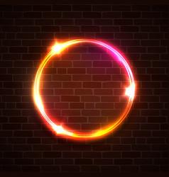 technology light background neon circle on brick vector image