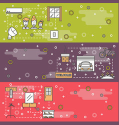 thin line art housing web banner template vector image