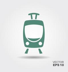 Tram icon flat vector