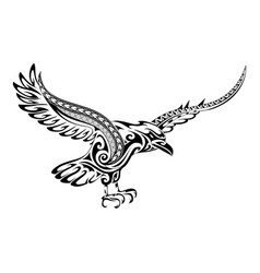tribal tattoo crow shape vector image