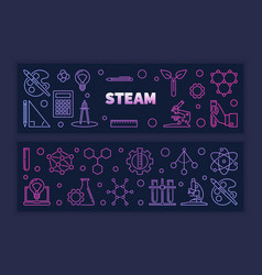 Two steam colored creative outline vector
