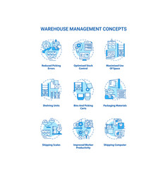 Warehouse management concept icons set vector