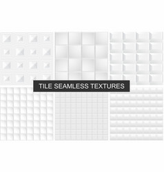 white tile seamless geometric textures vector image