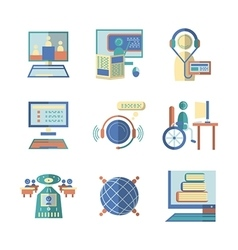 Flat color icons for e-education vector image vector image