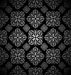 floral wallpaper silver tile vector image vector image