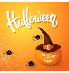 Halloween greeting card with pumpkin wearing hat vector image vector image