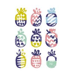 hand drawn pineapples set vector image