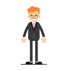 happy redheaded businessman character in suit vector image vector image
