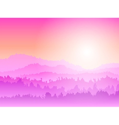 mountain sunrise pink vector image