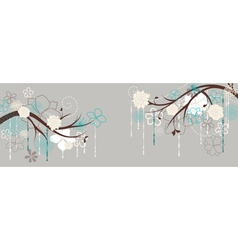 Panorama with branches and flowers vector image