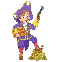 Pirate and treasure vector image