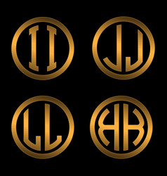Set 1 of templates from two capital golden letters vector